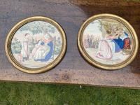 Pair of circular needlepoint pictures in original gilt frames (2 of 4)
