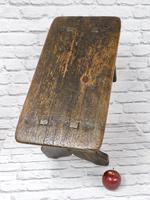 Large Rustic Bench Stool, Original Paint (4 of 6)