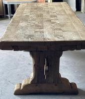 Superb Rustic Large Bleached Oak Farmhouse Table with Extensions (6 of 36)