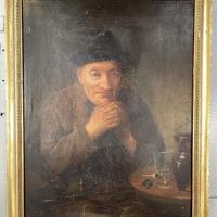 Antique Victorian Oil Painting Portrait of Man with Hat in Inn Pub Ale House (3 of 10)