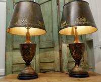 A Pair of Large Bronze Coloured Toleware Table Lamps (6 of 9)