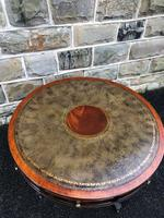 Quality Mahogany & Leather Drum Coffee Table (8 of 8)