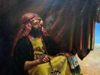 Beautiful Original 19thc Portrait Oil Painting of Smoking Arabian Gentleman (5 of 13)