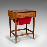 Antique Drop Leaf Sewing Table, English, Rosewood, Side, Lamp, Regency c.1820 (2 of 12)