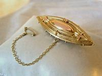 Victorian 9ct Brooch Antique Rose & Yellow Gold Secret Locket & Safety Chain (2 of 9)