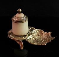 Antique French Bronze & Alabaster Inkwell (2 of 12)