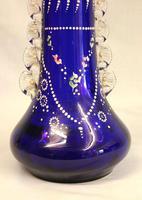 Antique Impressive Bristol Blue Glass Decorated Vase (2 of 7)