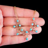 Antique Edwardian Turquoise Pearl Garland Necklace 9ct Gold Circa 1905 (2 of 6)