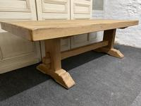 Large French Bleached Oak Farmhouse Dining Table (10 of 19)