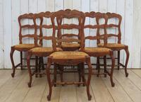Six Oak & Rush Seated Dining Chairs