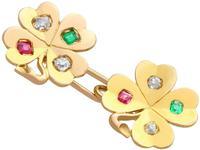 0.24ct Diamond, 0.15ct Ruby & Emerald, 18ct Yellow Gold Clover Cufflinks - Antique c.1910 (6 of 6)