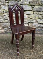 Antique Gothic Oak Hall Chair (3 of 13)
