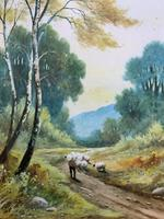 Near Darley Dale 19thc Derbyshire Sheppard Sheep  Landscape Watercolour Painting (2 of 13)