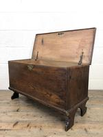 Small 18th Century Antique Elm Six Plank Coffer Chest (9 of 11)