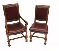Set of Oak Dining Chairs English Antique Farmhouse Furniture (4 of 13)