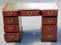 1960s Mahogany Pedestal Desk with Green Leather on Top. 1 Piece (2 of 4)