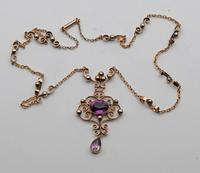 Unusual amethyst pendant with fancy integral chain