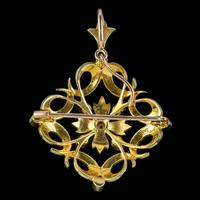 Antique Victorian Pearl Diamond Pendant Brooch 18ct Gold c.1900 (4 of 6)