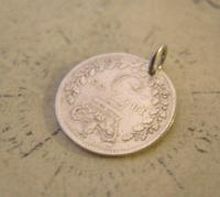 Georgian Pocket Watch Chain Fob 1835 Antique Silver Threepence Old 3d Coin Fob (5 of 6)