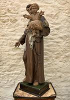 Exceptional Early 1900's Signed 39'' Carved Sculpture Statue St Anthony & Jesus (6 of 18)