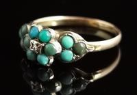 Antique Victorian Turquoise & Diamond Cluster Ring, 18ct Gold, Forget me Not (4 of 10)