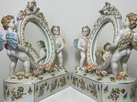 Pair of Small Dresden Victorian Style Porcelain Cherub Table Mirrors (21 of 60)