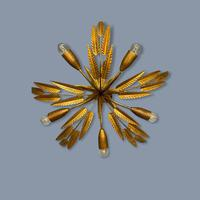 Spanish Ferro Art Gilt Palm Ceiling Light (8 of 11)