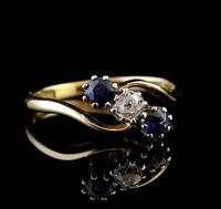 Vintage Art Deco Sapphire & Diamond Trilogy Ring (8 of 10)