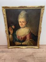 18th Century Oil Painting Portrait Lady In Pink Silk Dress Holding A Rose (5 of 62)