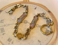 Art Nouveau Pocket Watch Chain 1900 Brass Albert with Pink & Blue Glass Panels (3 of 12)