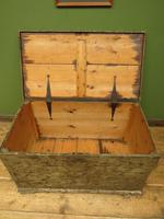 Large Antique Old Painted Green Distressed Pine Trunk Chest, Rustic Blanket Box (12 of 18)