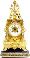 Superb Antique French Ormolu Mantel Candelabra Clock Set Embossed Decoration Finial 8 Day Striking (14 of 15)