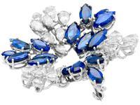 7.95ct Sapphire & 4.75ct Diamond, Platinum Pendant / Brooch - Vintage c.1960 (3 of 9)