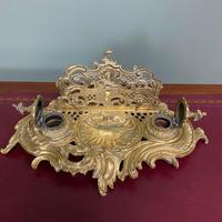 Superb Quality Antique Brass Inkwell Letter Holder Desk Set (3 of 5)