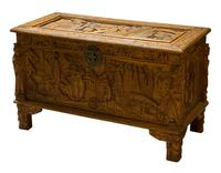 Early 20th Century Chinese Style Carved Camphorwood Chest
