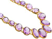 274.91ct Amethyst & 18ct Yellow Gold Rivière Necklace - Antique Victorian (4 of 12)