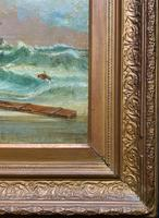 Large Spectacular 19th Century British Seascape Oil Painting - Shipwreck in Rough Seas! (12 of 13)