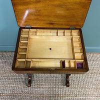 Spectacular Figured Walnut Inlaid Victorian Antique Work Box / Side Table (7 of 8)