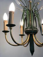 Vintage Art Deco Style Murano & Toleware Wheatsheaf Ceiling Light Chandelier (6 of 12)