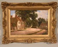 "Oil painting Pair by Alfred Kedington Morgan ""Village High Street"" (6 of 8)"