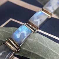 Vintage Sterling Silver Moonstone Panel Bracelet (4 of 11)