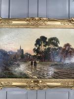Antique Victorian Landscape Oil Painting In Gilt Gesso Frame Entitled Sunday Evening by R Halfnight (7 of 10)