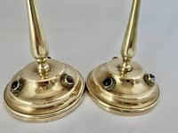 Brass Candlesticks Set with Cabochon Agates (2 of 5)