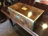 Burr Walnut Brass Inlaid Writing Box (6 of 17)