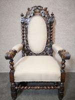 Pair of Victorian Jacobean Style Carved Oak Armchairs (2 of 12)