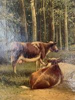 Antique 19th Century British Landscape Oil Painting of Cows Cattle in Wood Signed JD Morris '2 of 2' (4 of 10)