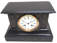 Very Fine French Slate & Marble Mantel Clock Classic 8 Day Striking Mantle Clock (8 of 13)