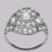 Art Deco 2.5ct Old Cut Diamond Platinum Original 1920's Large Cluster Bombé Ring (3 of 16)