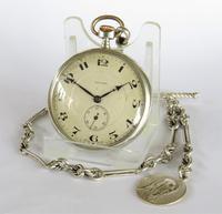 1924 Silver Arcadia Pocket Watch & Chain