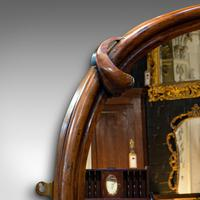 Antique Overmantel Mirror, English, Walnut, Glass, Hall, Victorian, Circa 1860 (3 of 9)